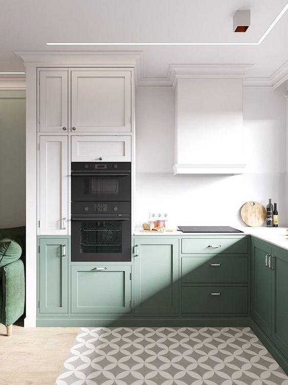 cucina bianca e verde scandinava